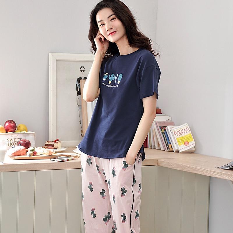 Image 3 - 少女パジャマセットレジャー服春薄型半袖女性パジャマサボテン印刷パジャマ素敵なホーム服    グループ上の 下着