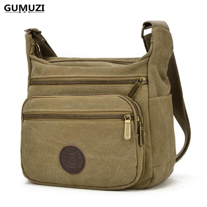 GUMUZI High Quality Vintage Canvas Men Crossbody Shoulder Bag Fashion Casual Travel Messenger bags postman handbag totes messenger bag