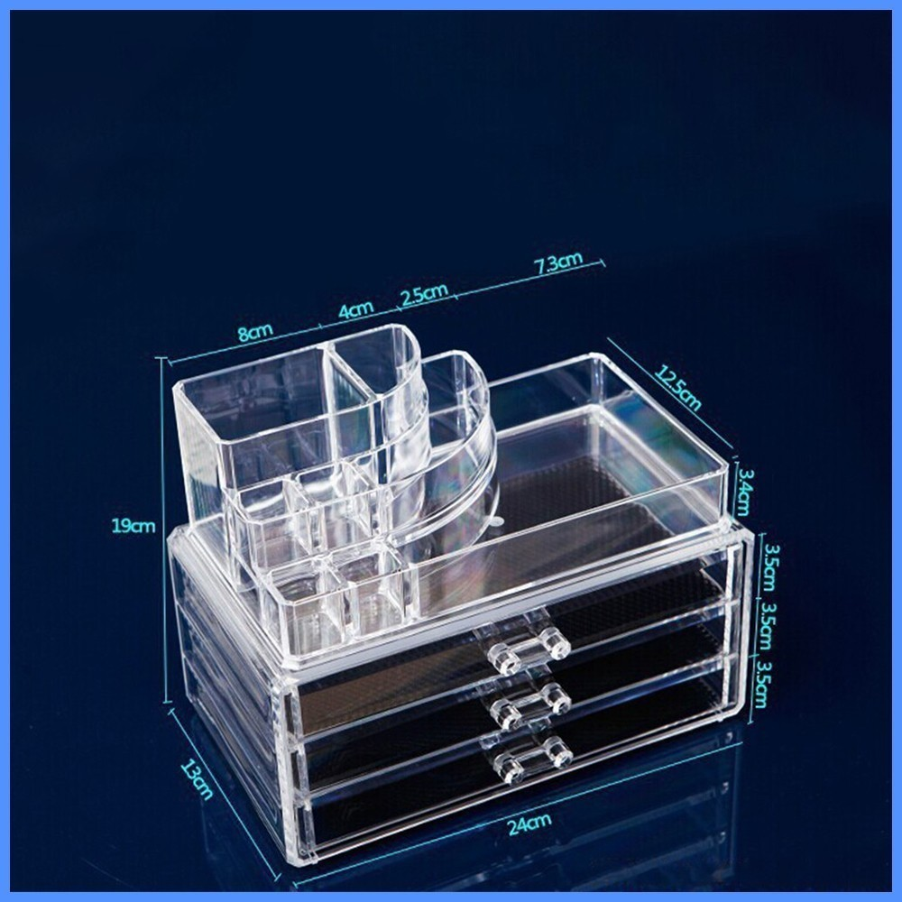 Durable New Arrivals Multi layer large capacity drawer type transparent cosmetic plastic storage box desk accessories GOOD