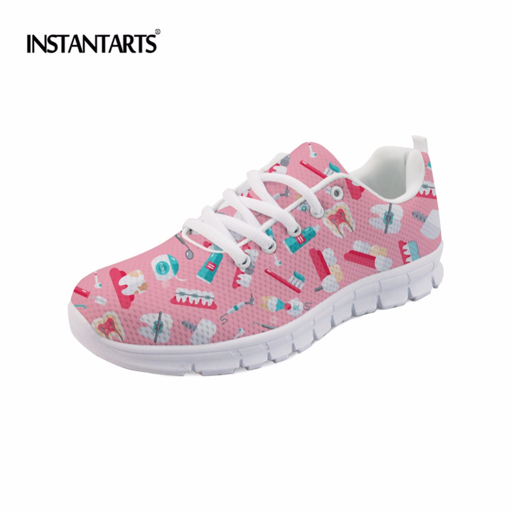 INSTANTARTS Fashion Women Flats Cute Cartoon Dental Equipment Pattern Pink Sneakers Woman Breathable Comfortable Mesh Flat Shoes