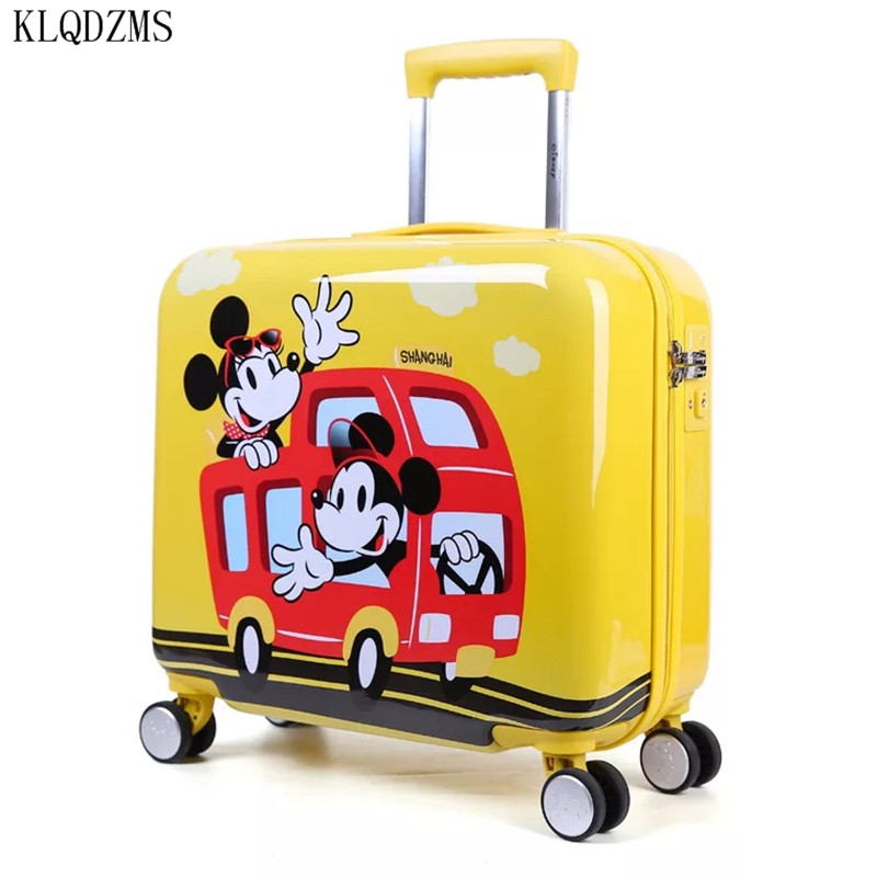 KLQDZMS 18inch High Quality Mickey Cartoon PC Kids Rolling Luggage Spinner Children Travel Suitcase