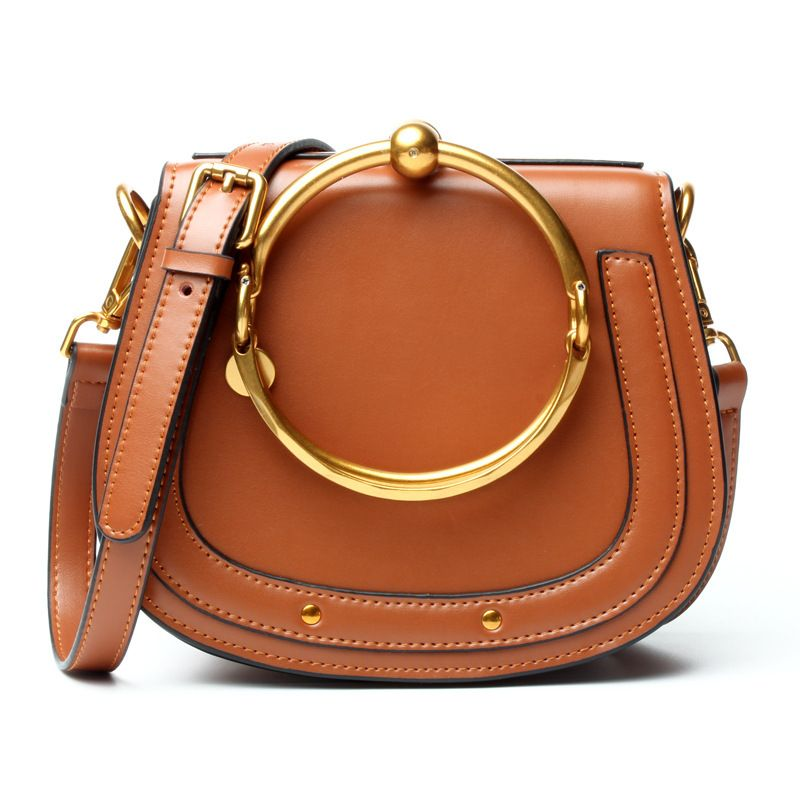 LOEIL Women's bag simple leather handbag metal ring bag female saddle bag shoulder slung small bag tide