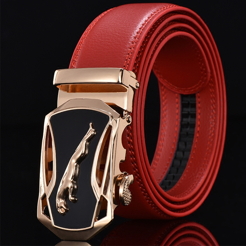 Luxury Business Casual Red Belt Man Black Brown Genuine Leather Belts For Jeans Automatic Buckle Strap Belt Cintos Free Shipping