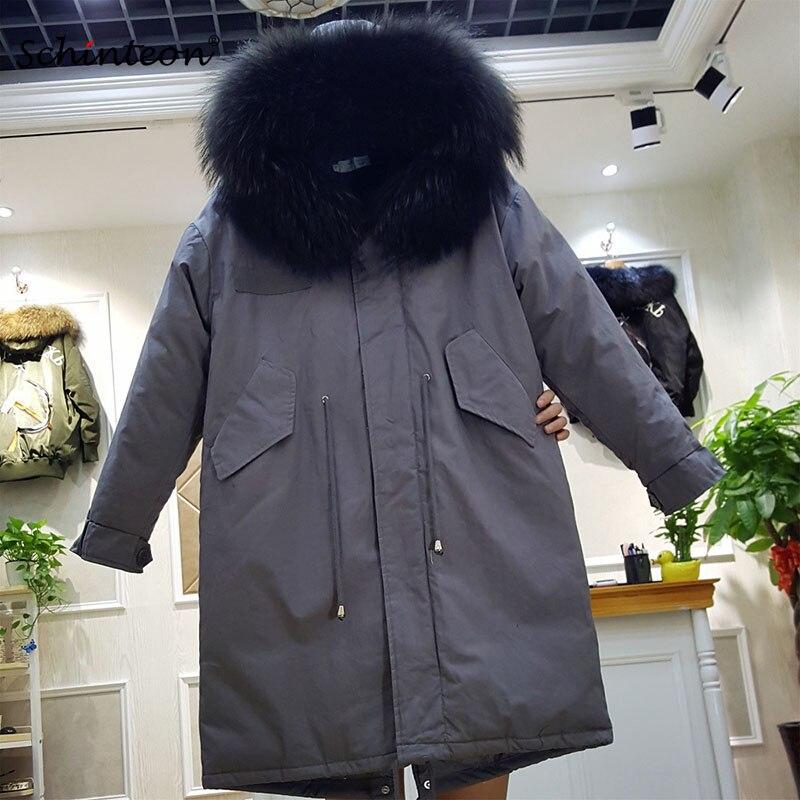 2019 nouveau femmes doudoune avec 100% réel grand raton laveur fourrure garniture capuche réglable taille chaude hiver vêtements d'extérieur manteau