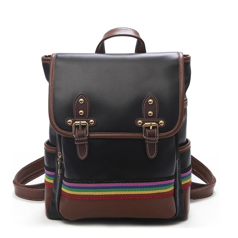 70803ef9187d Brand Vintage Women Backpack Female PU Leather Black School Bags For Teenager  Girl Large Capacity Fashion Women Backpacks ZQ-122
