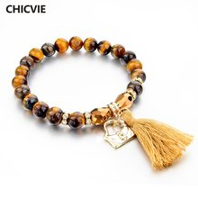 Chicvie кисточка золотого цвета ювелирное изделие тигровый глазной