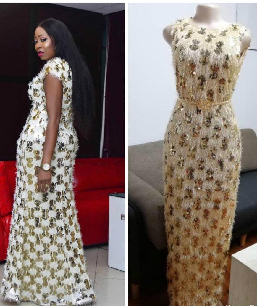 2019 New Arrival Summer African Women Plus Size Sequined Long Dress M-XL