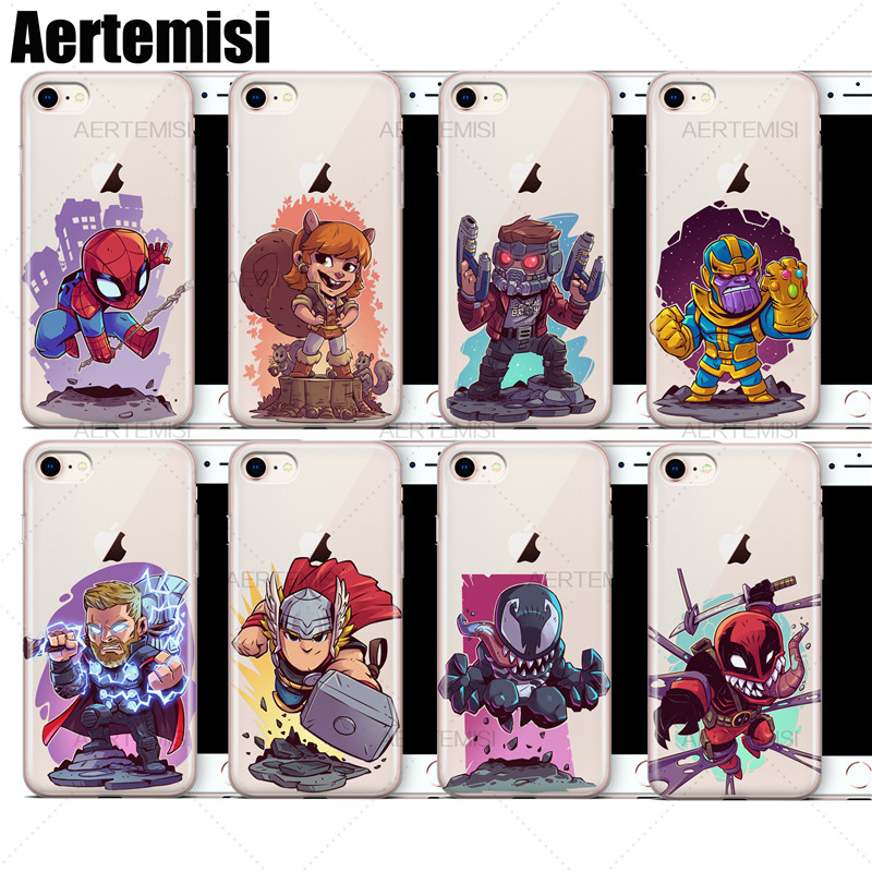 Aertemisi Clear TPU Case Cover for iPhone 7 8 Star-Lord Thanos Thor Venom Venompool Winter Soldier Wolverine Yondu image