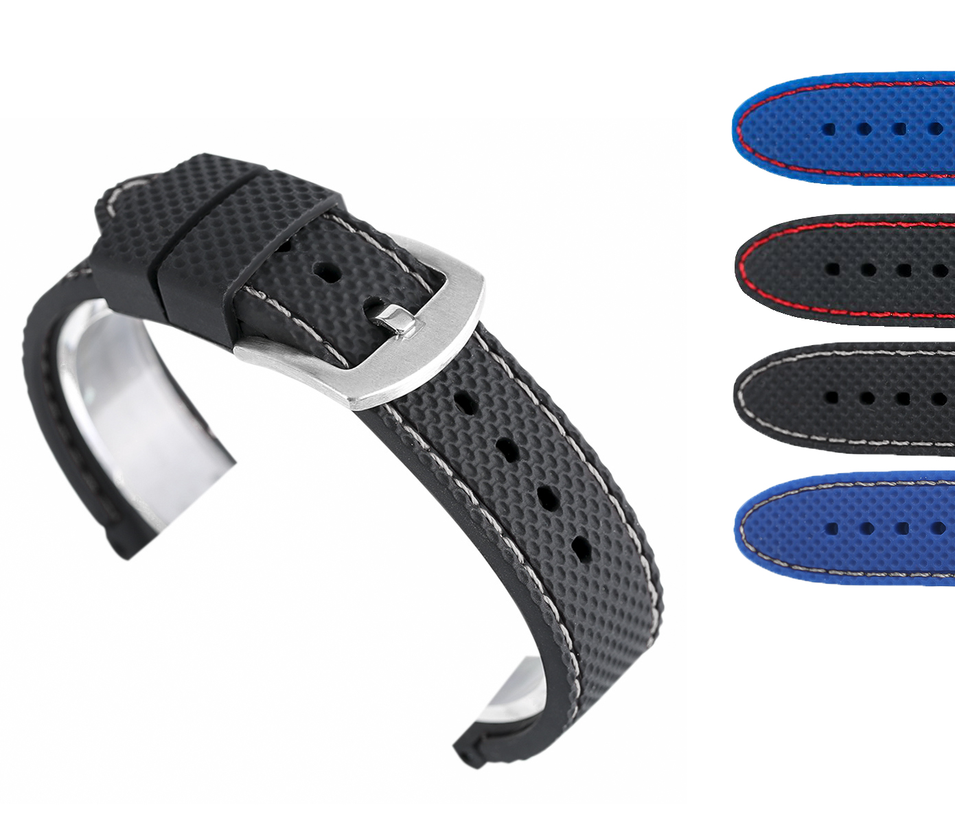 22/24MM Waterproof Soft Replacement Black/Blue Diving Bracelet Silicone Watch Strap Band Rubber Pin Buckle High Quality 18/20MM black blue gray red 18mm 20mm 22mm waterproof silicone watchband replacement sport ourdoor with pin buckle diving rubber strap