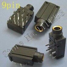 10 unids/lote 9 pin 6,35mm estéreo Audio micrófono hembra Jack conector de asiento para KTV amplificador de potencia TV etc MIC puerto