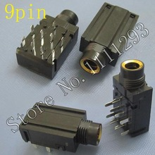10pcs/lot 9 pin 6.35mm Stereo Audio Microphone Female Jack socket seat Connector for KTV power amplifier TV etc MIC port