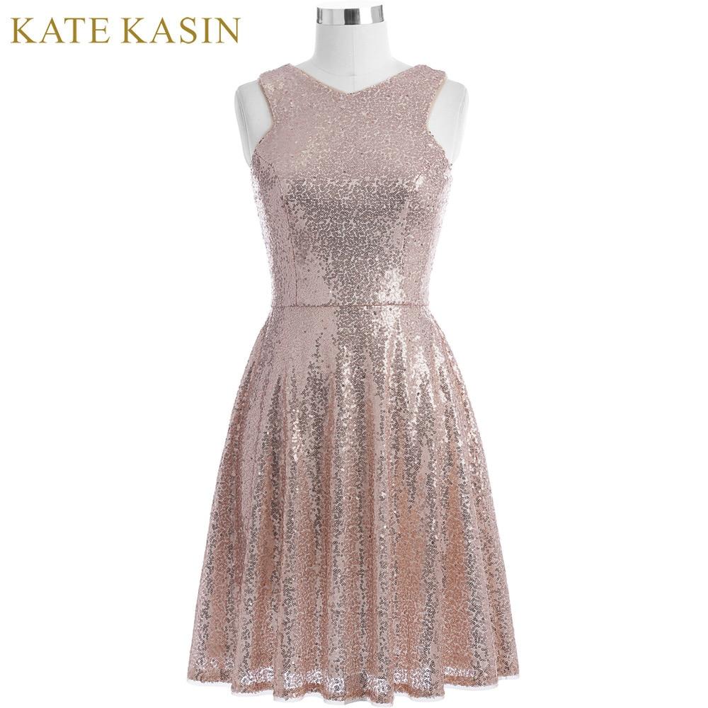 Kate Kasin Rose Gold Sequins Cocktail Dresses 2019 Knee Length Women Casual Party Short Dresses Robe de Cocktail Prom Gowns 1065