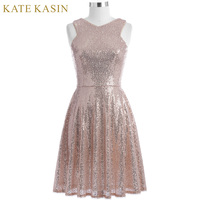 Kate Kasin Rose Gold Sequins Cocktail Dresses 2018 Knee Length Women Casual Party Short Dresses Robe de Cocktail Prom Gowns 1065