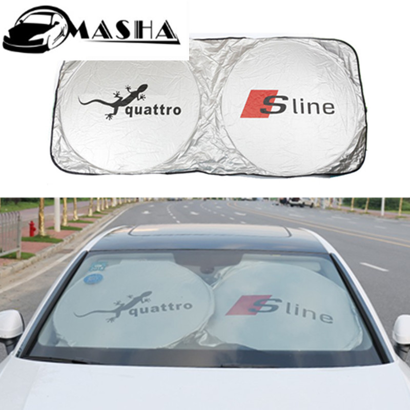 Car Front Windshield Sunshade For AUDI A1 A2 A3 A4 A5 A6 A7 A8 Q3 Q5 80 100 B5 B7 B8 C5 C6 TT S line S3 S4 S8 R8 RS 2pcs led logo door courtesy projector shadow light for audi a3 a4 b5 b6 b7 b8 a6 c5 c6 q5 a5 tt q7 a4l 80 a1 a7 r8 a6l q3 a8 a8l