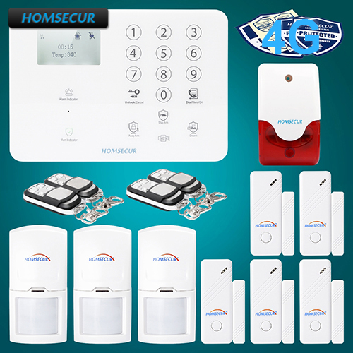 HOMSECUR Wireless&wired 4G/GSM LCD Home Security Alarm System+PIR+5*Door Sensor GA01-4G-W 2 4g wired