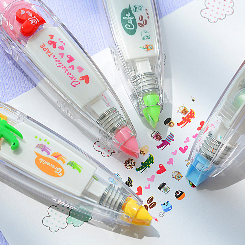 DIY Creative Correction Tape Kawaii Cute Press Type Stationery Tapes Decorative Pen School Supplies
