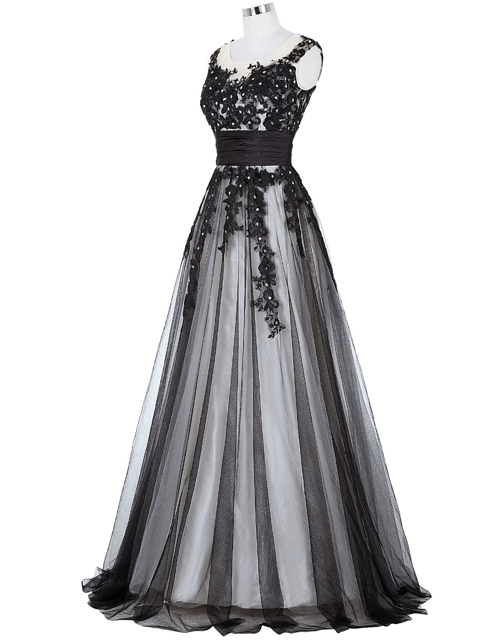 Grace Karin Long Prom Dress 2018 Elegant Black Appliques Sleeveless Soft Tulle Satin Real Picture Robes De Soiree Prom Dresses 8