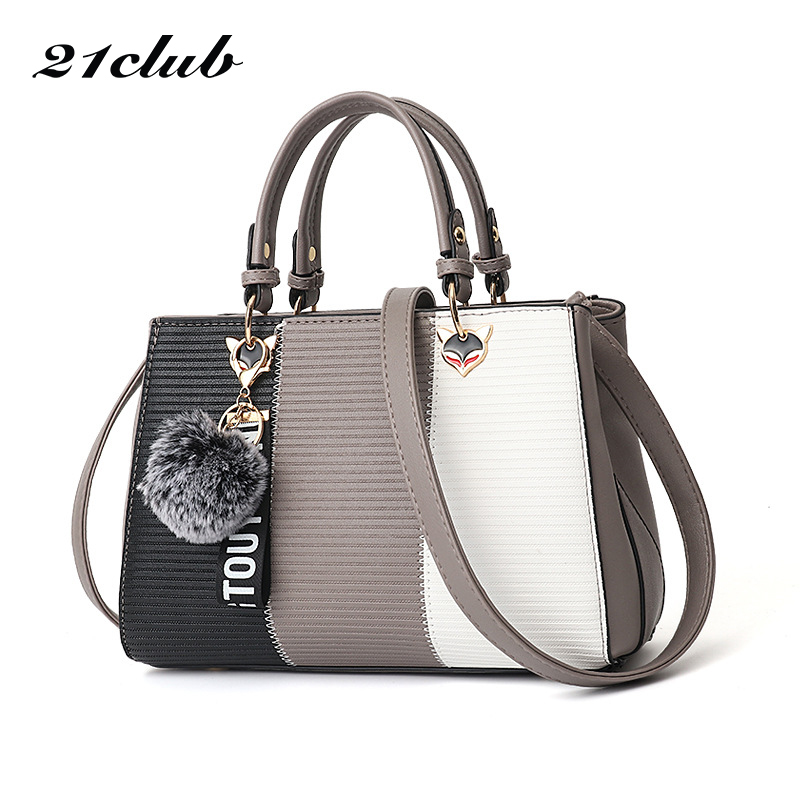 21club Brand Women Hairball Ornaments Totes Sequined Handbag Party Purse Ladies Messenger Crossbody Shoulder Bags Women Handbags-in Top-Handle Bags from Luggage & Bags