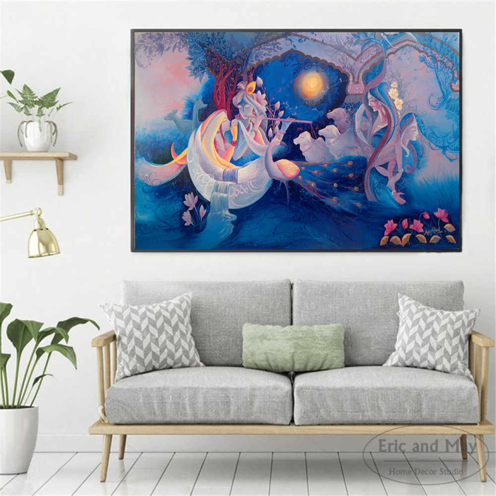 krishna Women And Flowers Painting Poster Print Decorative Wall Pictures For Living Room No Frame Home Decoration Accessories