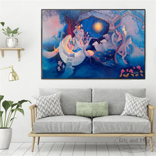 krishna Women And Flowers Canvas Art Print Painting Poster Wall Pictures For Living Room Home Decorative Decor No Frame