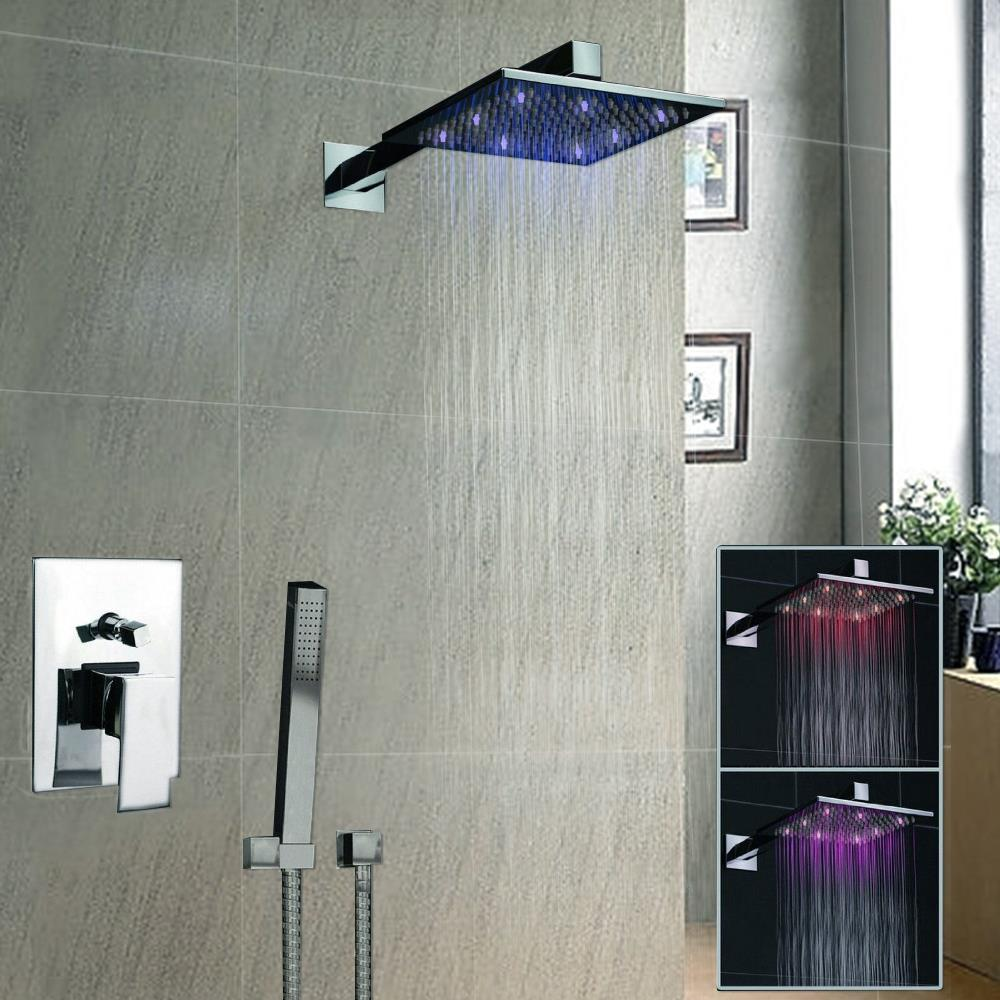 Luxury 8 Square Led Rainfall Shower Head Bathroom Rainfall Shower Faucet Shower Vanity Faucet Contemporary Shower L-3812