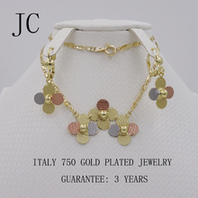 Fashion high quality Real Gold Plated Jewelry Set Italy 750 gold Plated Earrings Necklace pendant 3color