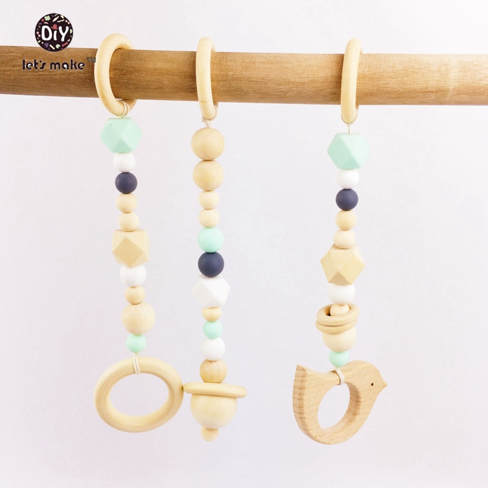 Crib gym for babies - Let S Make Wooden Teether Baby Play Gym Crib Toys Wood Ring Wood Beads Rattle Silicone Teehing