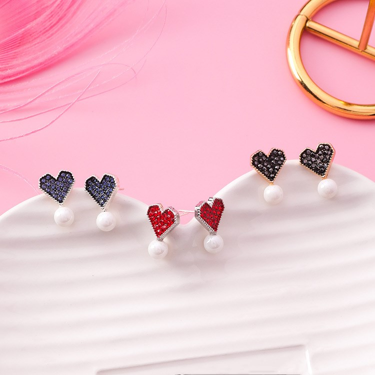 Fashion Jewelry 3 Colors Crystal From Austrian 925 Silver Needle Sweet Wild Small Heart Pearl Earrings Fit Women For Party