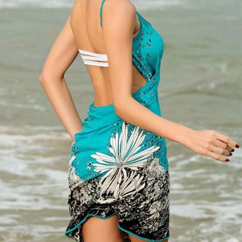 여성 비치 드레스 섹시 슬링 비치웨어 드레스 사롱 비키니 커버 업 랩 파 레오 스커트 타월 오픈 백 수영복