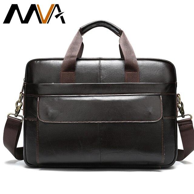 MVA кожаная сумка мужской портфель повседневные компьютерные сумки 14 дюймов Мужская сумка из натуральной кожи для офиса/ноутбука Деловые сумки 1115
