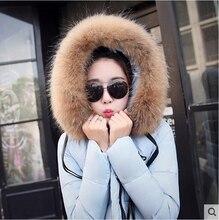 Бесплатная доставка! Новый 2016 мс енота меховым воротником действительно большой карман загущающие теплый зимний пуховик пальто / S-XL