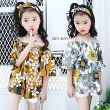 Girls dress 2019 New summer pastoral Floral A word fresh slip shoulder children clothing 3-12 years old