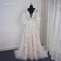 Свадебное платье с v образным вырезом и цветочным рисунком, ТРАПЕЦИЕВИДНОЕ ПЛАТЬЕ с расклешенными рукавами на заказ