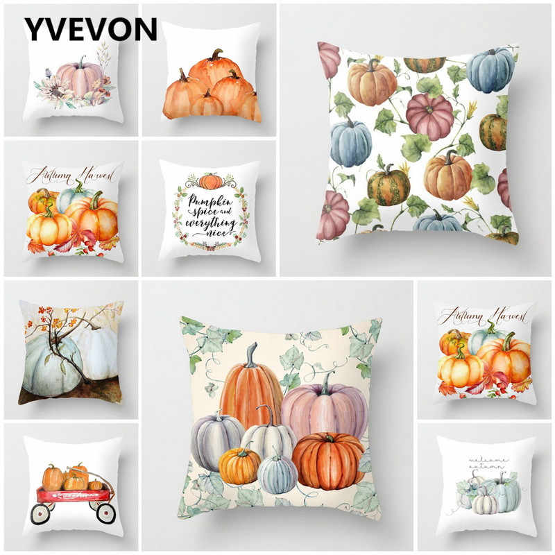 New Watercolor Pumpkin Cushions Cover Autumn Halloween Pillows Thanksgiving Day Home Decor Car Sofa Throw Pillowcase 45cm 18inch