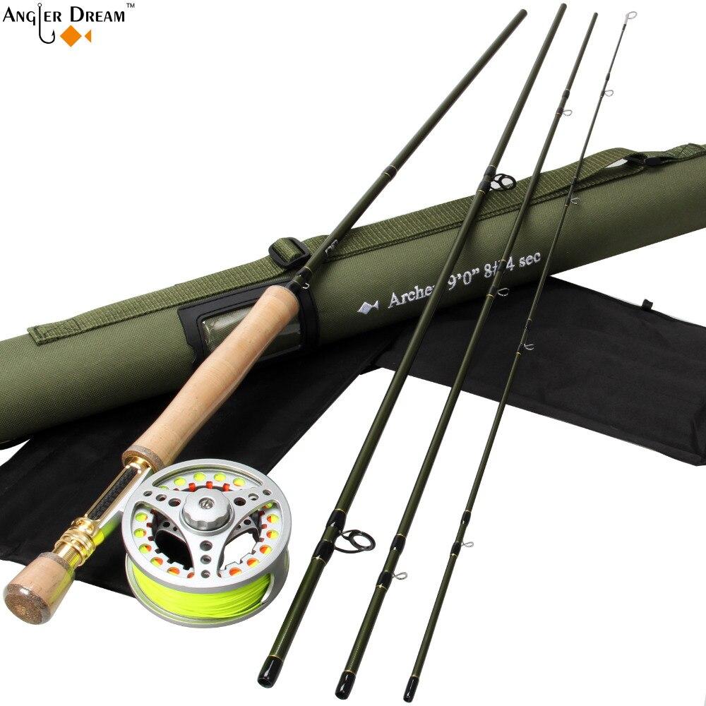 Ensemble de pêche à la mouche 9FT 8WT canne à pêche à la mouche en Fiber de carbone avec moulinet de pêche à la mouche en aluminium 7/8WT avec Leader de soutien de ligne