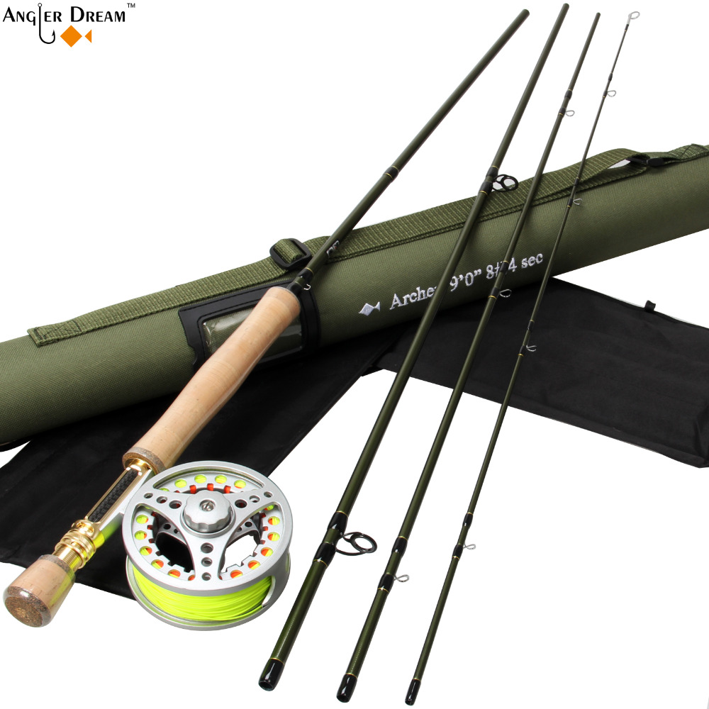 Fly Fishing Set 9FT 8WT Carbon Fiber Fly Fishing Rod with 7/8WT Aluminum Fly Fishing Reel with Line Backing Leader fly rod combo 8 3 9ft carbon fiber fly fishing rod 3 4 5 6 7 8wt aluminum fly fishing reel and line