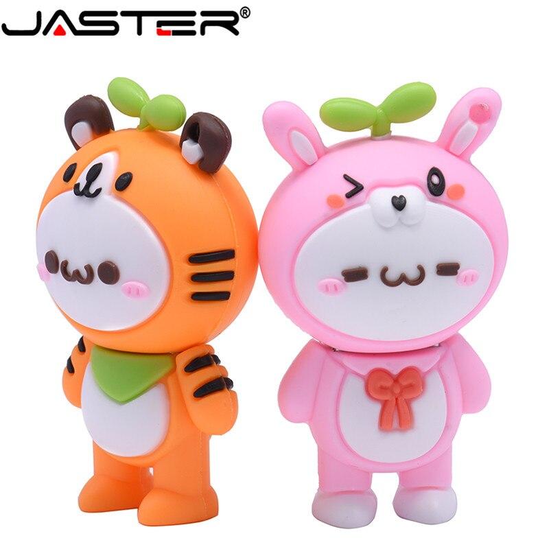 JASTER USB 2.0 Cartoon 2019 New Budding Series Pete Monkey Little Tiger Rabbit U Disk 4GB 8GB 16GB 32GB 64GB Pet Flash Drive
