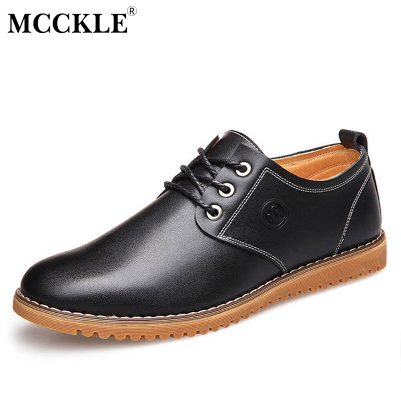 MCCKLE 2017 Autumn British Genuine Leather Men Shoes Brogue Lace Up Platform Fashion Man Flats Casual
