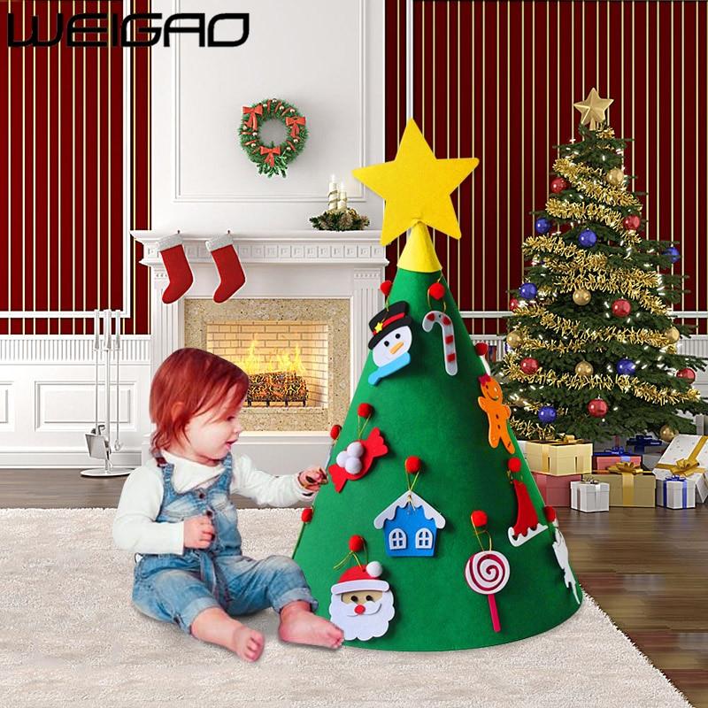 WEIGAO 60x50cm Felt 3D Christmas Tree Decorations Merry