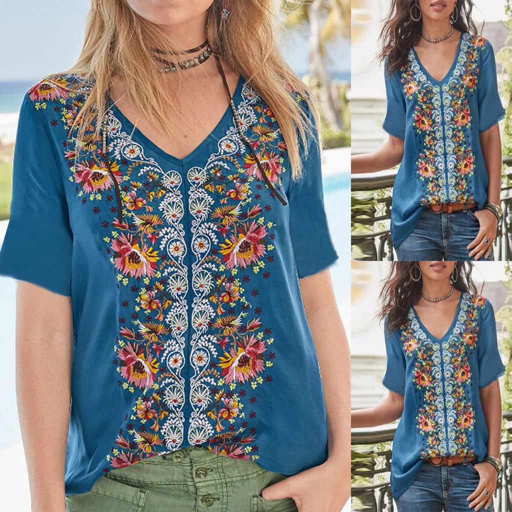 Summer Women Fashion Casual Loose T-Shirt Beach Boho Style Splice Retro Print Tanic V-neck Shirt Tops chemise femme