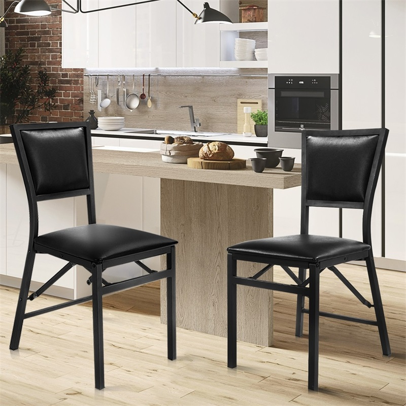 Folding Chair Solid Wood PU Leather Black Beech Home Living ...