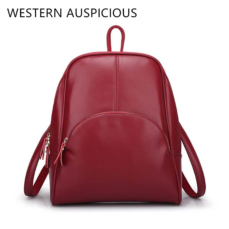 WESTERN AUSPICIOUS Backpack Fashion School Bags Red Black Brown Blue Colour School Backpack Women Quality Feminine