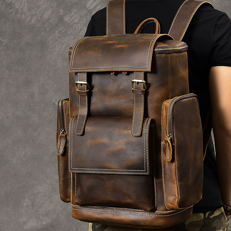 Big capacity men backpack crazy horse genuine leather 15 6 inch laptop Multifunction travel backpack school