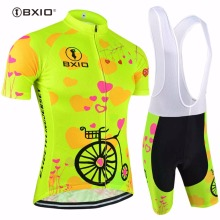 Bxio New Fluorescence Women Cycling Sets Short Sleeve Cycling Jerseys MTB Bicycle Roupas De Ciclismo Equipacion Four Color 125