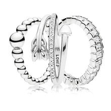 c1ed2e40b 2019 New Authentic 925 Sterling Silver String Beads Loved Arrow Pandora Ring  For Women Wedding Party