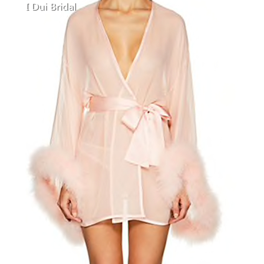 Short Bridal Robe With Marabou Trim On Sleeve Sash Short Sexy Night Gown Pajamas