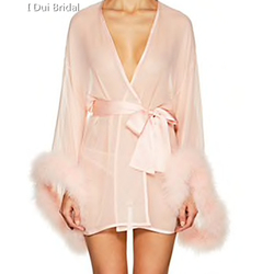 Short Bridal Robe with Marabou Trim on Sleeve Sash Short Sexy Night Gown Pajamas