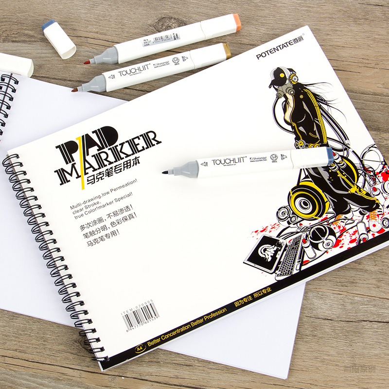 POTENTATE A4 A5 4K Spiral Marker Pad Notebook Paper Sketch Stationery Notepad For Designers Drawing Animation