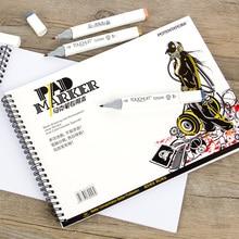 Властителя A4 A5 4 К спираль маркер Pad Записные книжки Бумага эскиз канцелярские блокнот для дизайнеров рисунок анимации Manga Книги по искусству поставки
