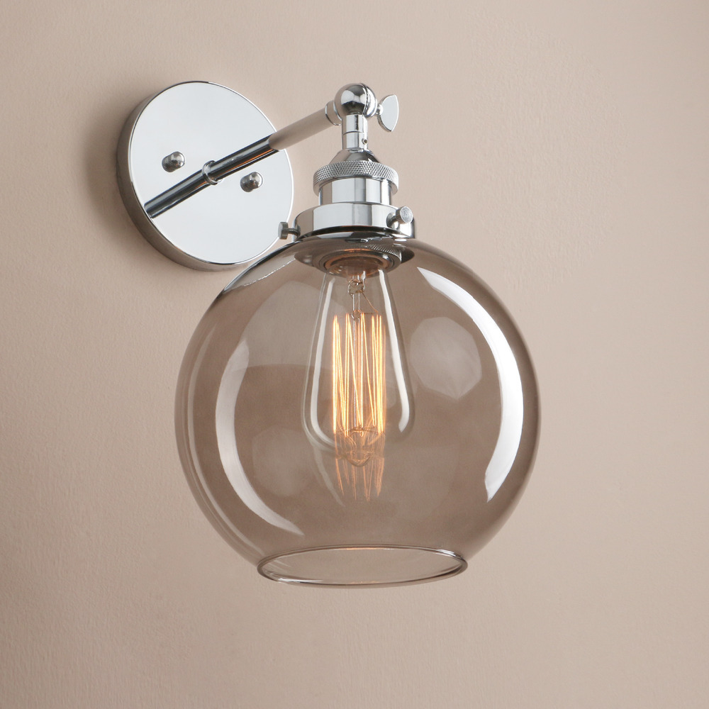 American Retro Glass Wall Lamp Modern Simple Bedroom Bedside Industrial Decor Wall Light Balcony Glass Cover